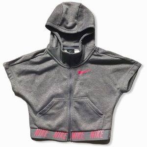 NIKE Dry-Fit Grey and Pink Zip-Up Hooded Crop